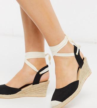 London Rebel wide fit heeled tie leg espadrille wedges in black