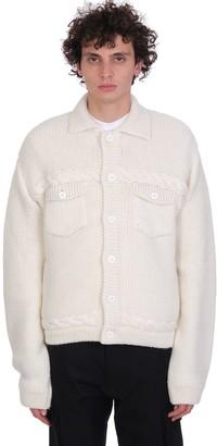 GCDS Cardigan In White Cotton