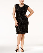 Betsy & Adam Plus Size Sequined Lace Sheath Dress