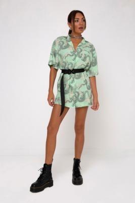 Motel Fresia Mini Shirt Dress - Green S at Urban Outfitters