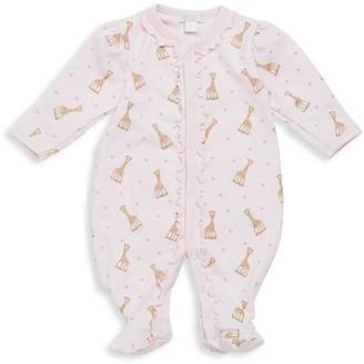 Kissy Kissy Baby Girl's Giraffe Print Ruffled Pima Cotton Footie