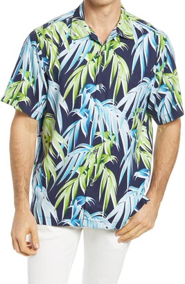 Tommy Bahama Perfect Palmday Leaf Print Short Sleeve Silk Button-Up Shirt