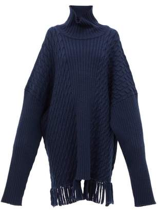 Vetements Scarf Roll Neck Wool Sweater - Womens - Navy