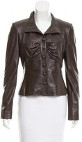 Valentino Leather Ruched Jacket