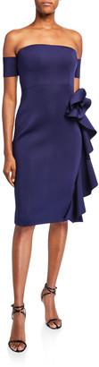 Badgley Mischka Off-the-Shoulder Cocktail Dress w/ Cascading Hip Flower