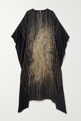 Taller Marmo Madame Butterfly Metallic Silk-blend Cloque And Satin Kaftan - Black
