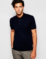 Peter Werth Short Sleeve Check Knitted Polo Shirt - Blue