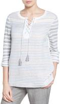 Nic+Zoe Ahoy Stripe Linen Blend Sweater