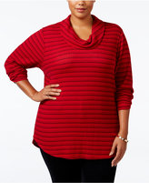 Style&Co. Style & Co. Plus Size Cowl-Neck Waffle-Knit Striped Top, Only at Macy's