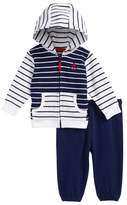 Little Me Stripe Mix French Terry Jacket & Pants Set