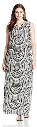 London Times Women's Plus Size Sleeveless Halter Long Jersey Maxi Dress