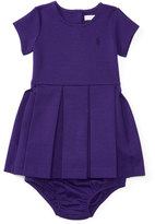 Ralph Lauren Pleated Ponte Dress w/ Bloomers, Purple, Size 9-24 Months