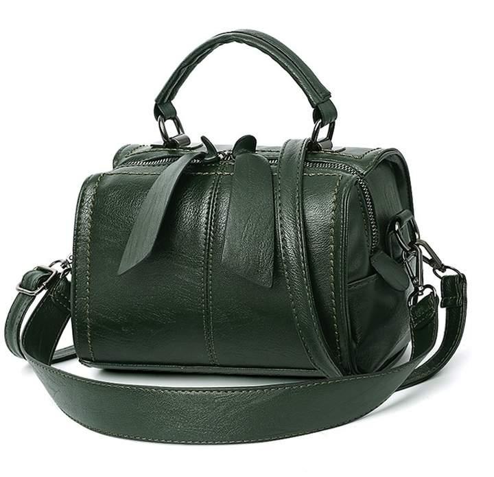 7bca4d1892cf Mn&Sue Women Boston Bag PU Leather Handbag Top Handle Barrel Design Satchel  Crossbody Lady Purse