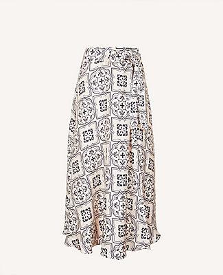 Ann Taylor Tall Tiled Tie Waist Maxi Skirt
