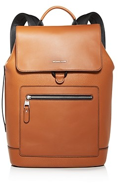 Michael Kors Hudson Flap Pebbled Leather Backpack