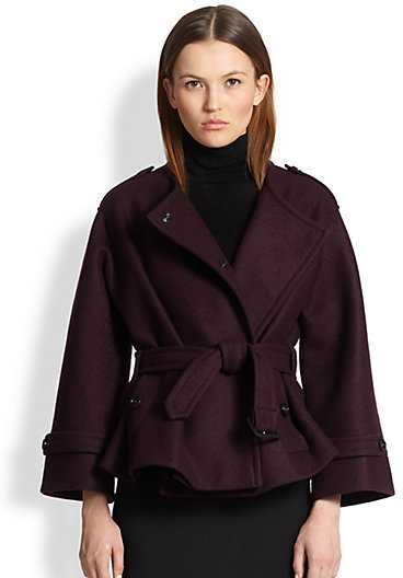 Burberry Barwell Short Belted Wool Cape Coat