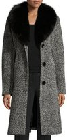 Sofia Cashmere Belted Fox-Trim Boucle Coat, Black/White
