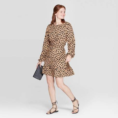 A New Day Women's Leopard Print Long Sleeve Round Neck Mini Crepe Dress Brown