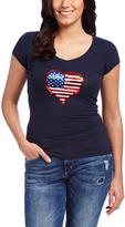 Navy Flag Heart Embellished V-Neck Tee - Plus Too