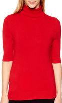 Liz Claiborne Elbow-Sleeve Turtleneck Sweater - Tall