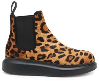 Alexander McQueen Leopard-Print Calf Hair Hybrid Leather Chelsea Boots