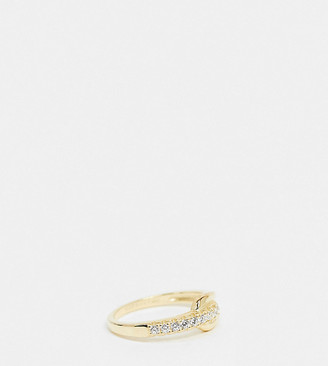 Shashi Ciara embellished link ring in gold plated sterling silver