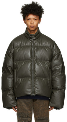 A. A. Spectrum Khaki Down Faux-Leather Puffer Jacket