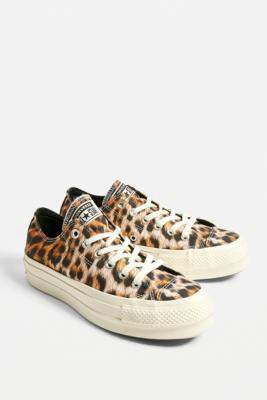 Converse Chuck Taylor All Star Lift Leopard Print Low Top Trainers - brown UK 4 at Urban Outfitters