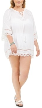 Raviya Plus Size Crochet-Trim Cover-Up Women's Swimsuit