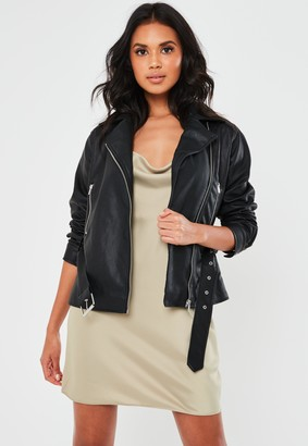 Missguided Black Faux Leather Belted Biker Jacket