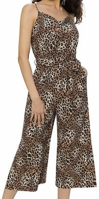 Liumilac Women Summer Adjustable Spaghetti Strap Jumpsuit with Pockets Elastic Waist1 2XL