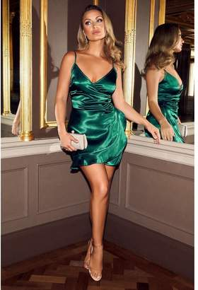 Quiz Sam Faiers Bottle Green Satin Wrap Frill Dress