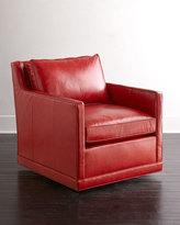 Horchow Nina St. Clair Crimson Leather Swivel Chair