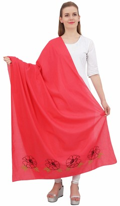 Phagun Indian Women's Scarf Wrap Embroidered Cotton Dupatta Long Stole-Maroon