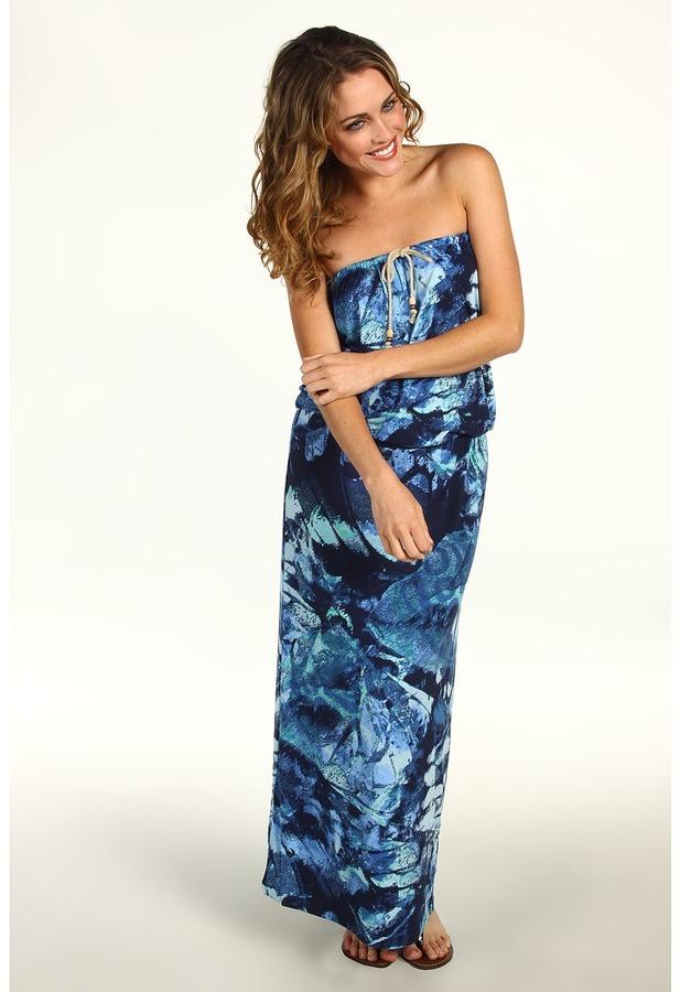 Calvin Klein Jeans Petite Printed Flowy Strapless Maxi Dress (Dark Lagoon Combo) - Apparel
