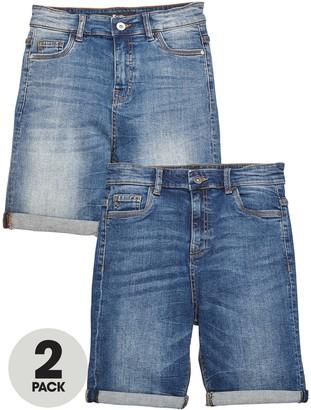 Very Boys 2 Pack Regular Fit Denim Shorts - Dark and Light Wash