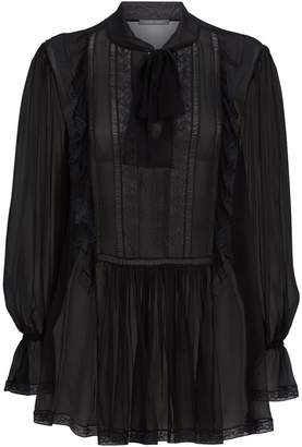Alberta Ferretti Sheer Silk Lace Blouse