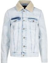 River Island Mens Light Blue borg trim distressed denim jacket