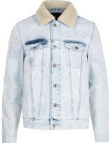 River Island Mens Light blue fleece trim distressed denim jacket