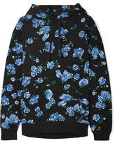 Bodyism - Emilia Wickstead Sienna Floral-print Cotton-blend Jersey Hooded Top - Blue