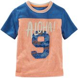 Osh Kosh Toddler Boy Colorblock Football-Seam Embroidered Tee