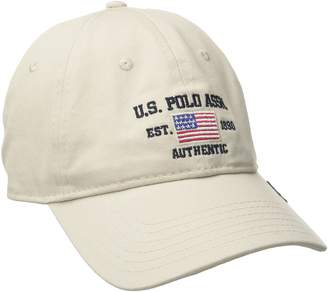 U.S. Polo Assn. Men's Logo American Flag Twill Baseball Cap with Self Strap Metal Buckle Closure