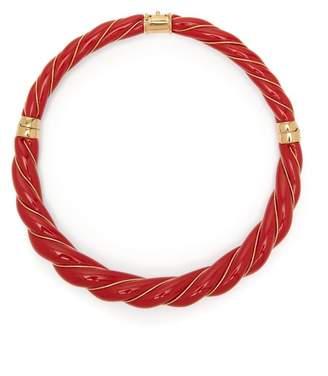 Aurelie Bidermann Diana Enamel Necklace - Womens - Red