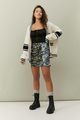 Urban Outfitters Floral Satin Spliced Mini Skirt