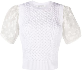 Cecilie Bahnsen Faye contrast knitted top