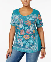 Style&Co. Style & Co Plus Size Printed V-Neck T-Shirt, Created for Macy's