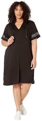 MICHAEL Michael Kors Size Logo Sleeve Hoodie Dress (Black) Women's Dress