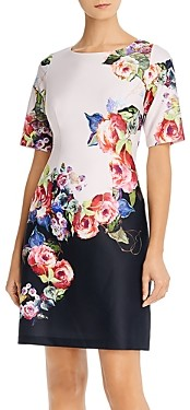 Adrianna Papell Rose Print Sheath Dress