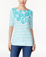 Karen Scott Floral-Print Striped Top, Only at Macy's