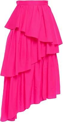 House of Holland Asymmetric Tiered Neon Shell Midi Skirt